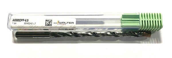Walter-Titex 6.9mm Solid Carbide Drill 140° 12xD Flute Coolant Thru TiAlN