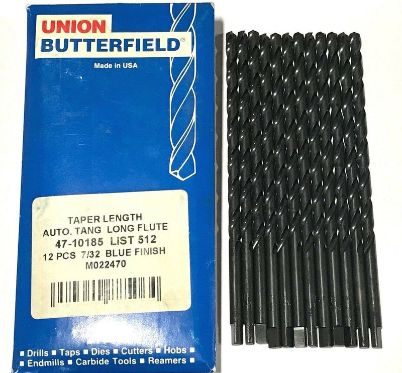"12 Union Butterfield 7/32"" Heavy Duty Drill Bits Tanged Taper Length HSS USA"