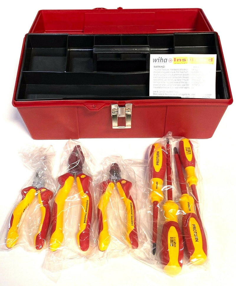 Wiha 7 Piece Proturn Insulated Pliers Screwdriver Set In Case 32899