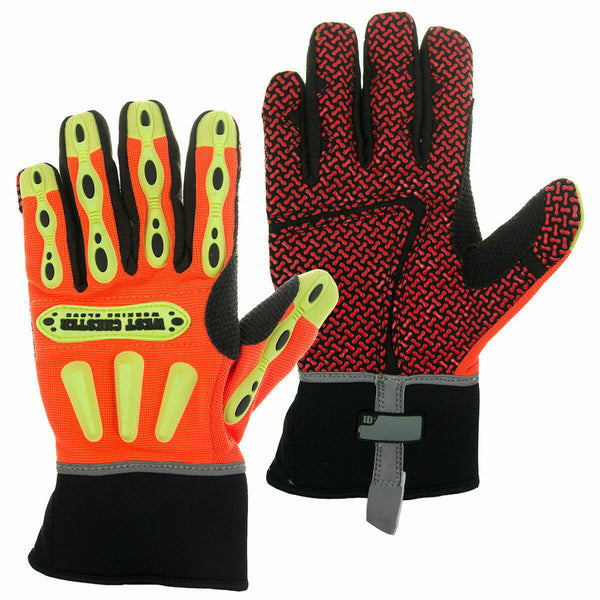 West Chester Kevlar Lined Safety Work Gloves Synthetic Leather Padded Hi-Vis XXL