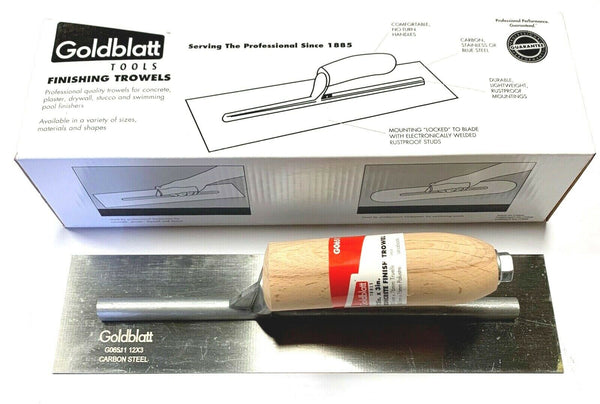 "Goldblatt Professional Tool Concrete Finishing Trowel 12"" x 3"""
