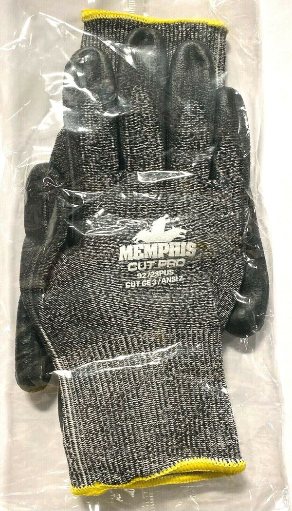 Memphis Cut Resistant Work Glove 13 Gauge PU Coated Palm Fingertips Size Small