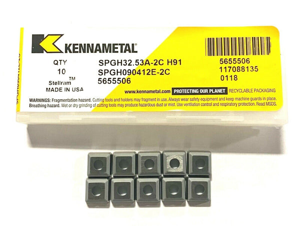 Kennametal Carbide Insert SPGH32.53A-2C Grade H91 Turning Inserts 10 Pack USA