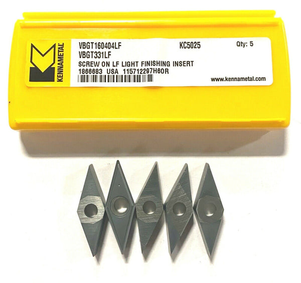 Kennametal Carbide Insert VBGT331LF Grade KC5025 Turning Insert TiALN 5 Pack