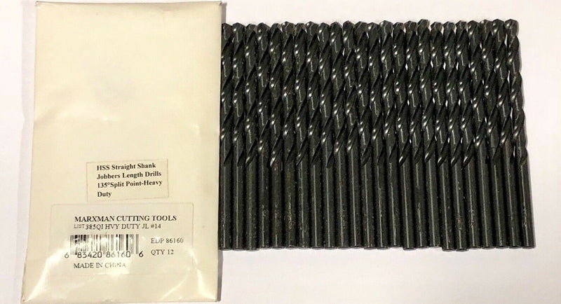 Marxman No.14 Drill Bit Heavy Duty 135 Split Point Wire Gauge Drills HSS 24 Pack