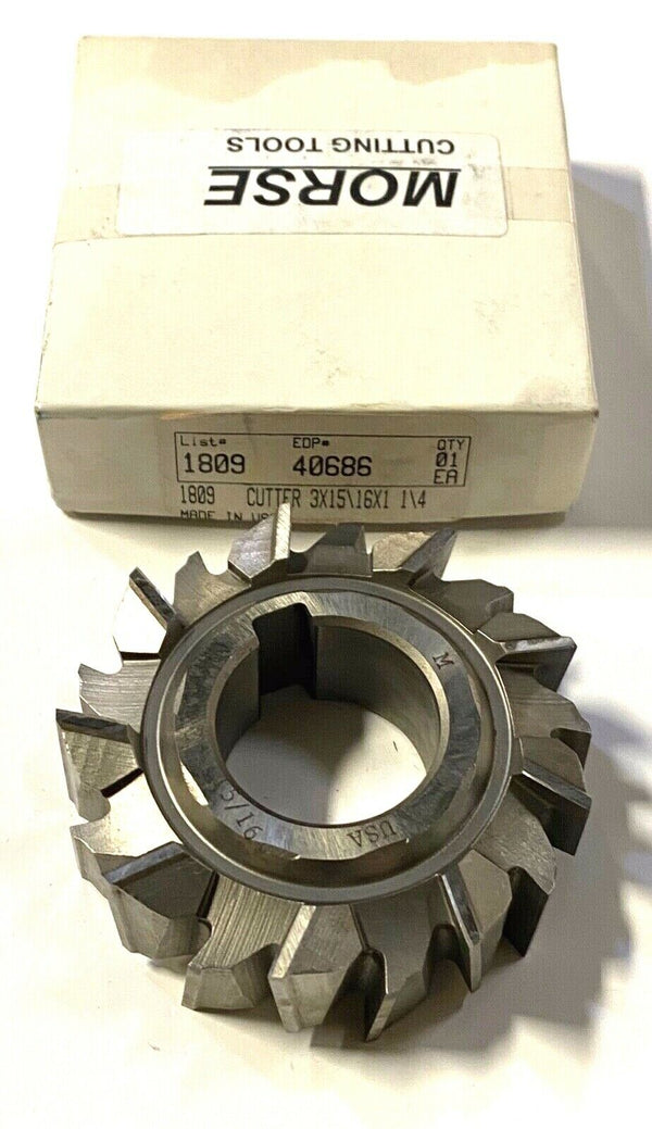"Morse Side Milling Cutter 3"" x 15/16"" x 1-1/4"" HSS Staggered Tooth USA Made"