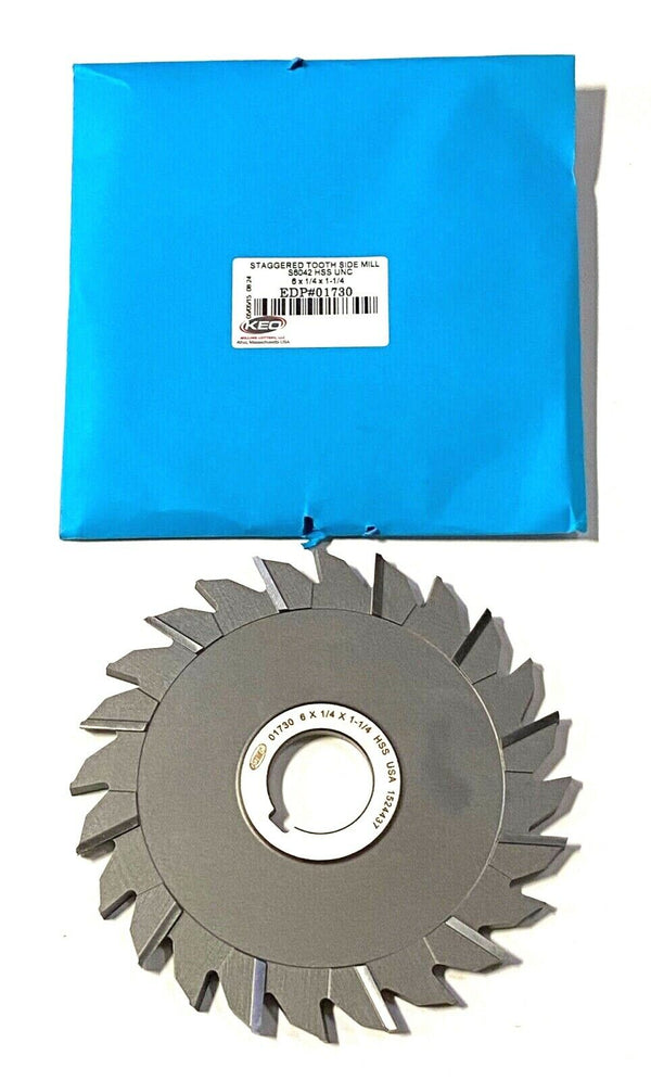 "KEO 6"" x 1-1/4"" x 1-1/4"" Side Milling Cutter HSS Staggered Tooth USA Made"