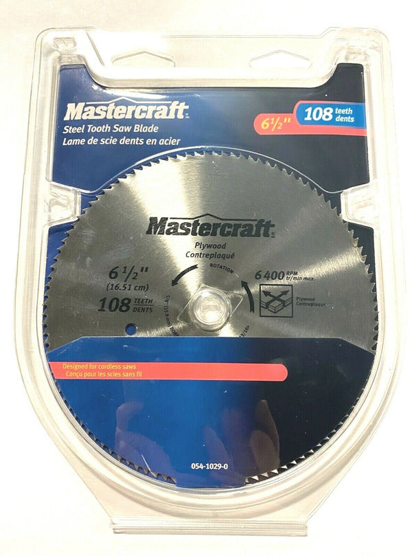 "MasterCraft 6-1/2"" Circular Saw Blade 108T Steel Tooth For Plywood"