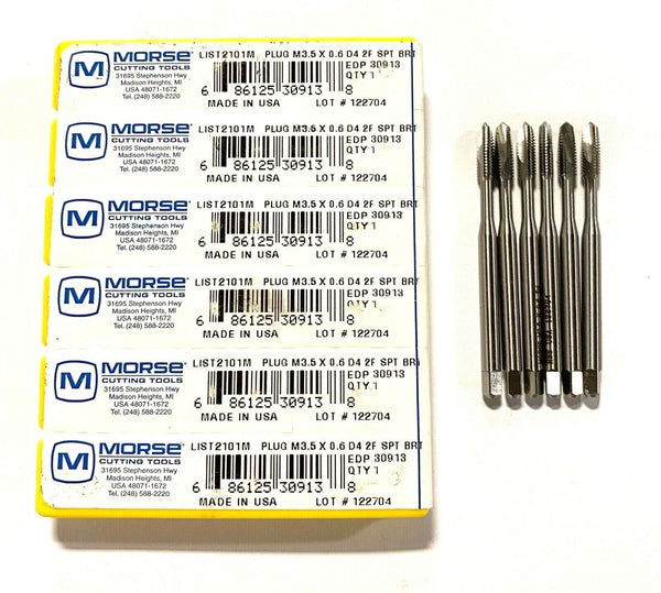 Morse M3.5 x 0.6 Spiral Point Plug Tap D4 2 Flute HSS USA Made 6 Pack