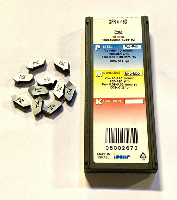 Iscar Carbide Inserts GFR 4-15D IC354 Cut Off Inserts 10 Pack Made In Israel