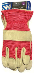 West Chester Women' Driver Gloves Split Cowhide Leather Palm Mesh Back Large