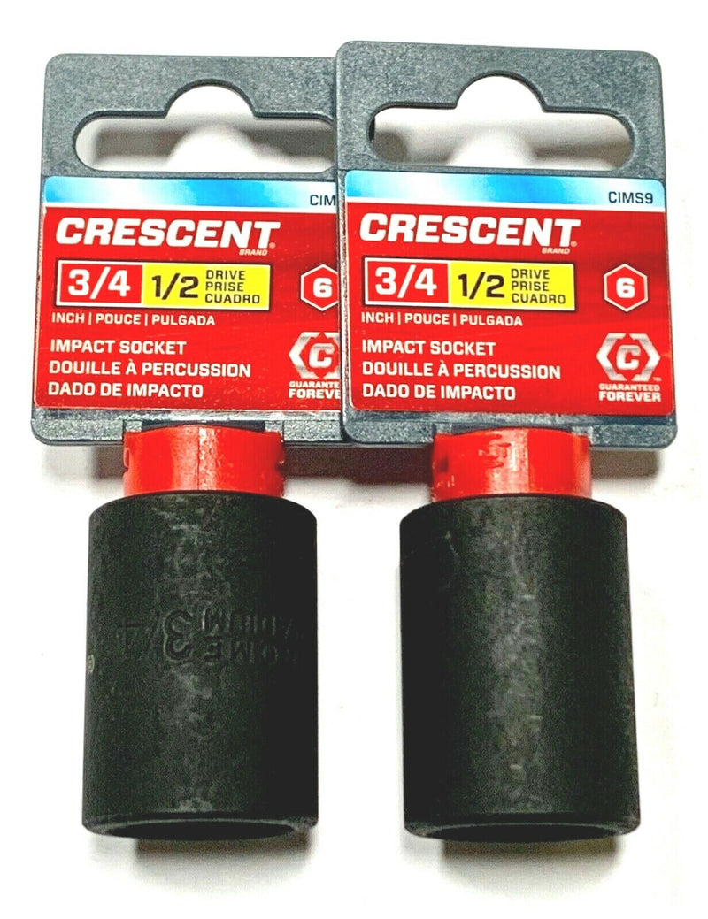 "Crescent 1/2"" Drive 3/4"" Impact Socket 6 Point CIMS9 2 Pack"
