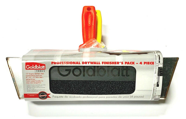 "Goldblatt Drywall Finisher's Kit 8"" 10"" 12"" Taping Knife Stainless Steel Mud Pan"