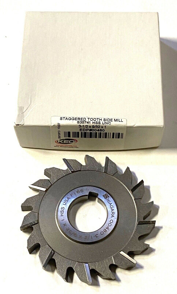 "Keo 3-1/2"" x 9/32"" x 1"" Side Milling Cutter HSS 18T Staggered Tooth USA Made"