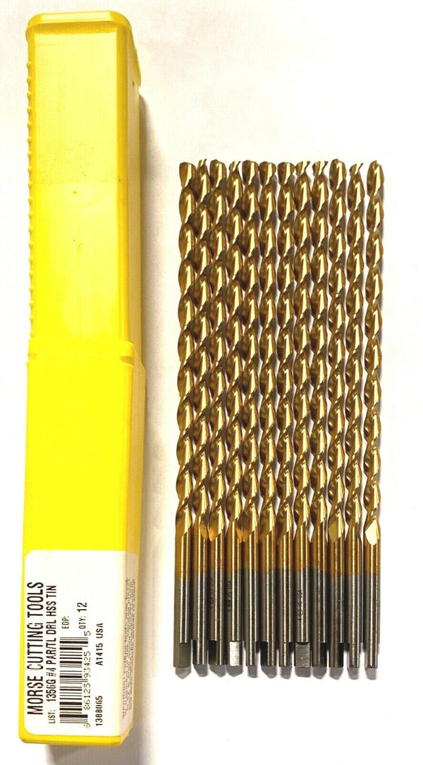 "Morse No.4 Drill Bit HSS 6"" Taper length Tin Coated Drills USA Made 12 Pack"
