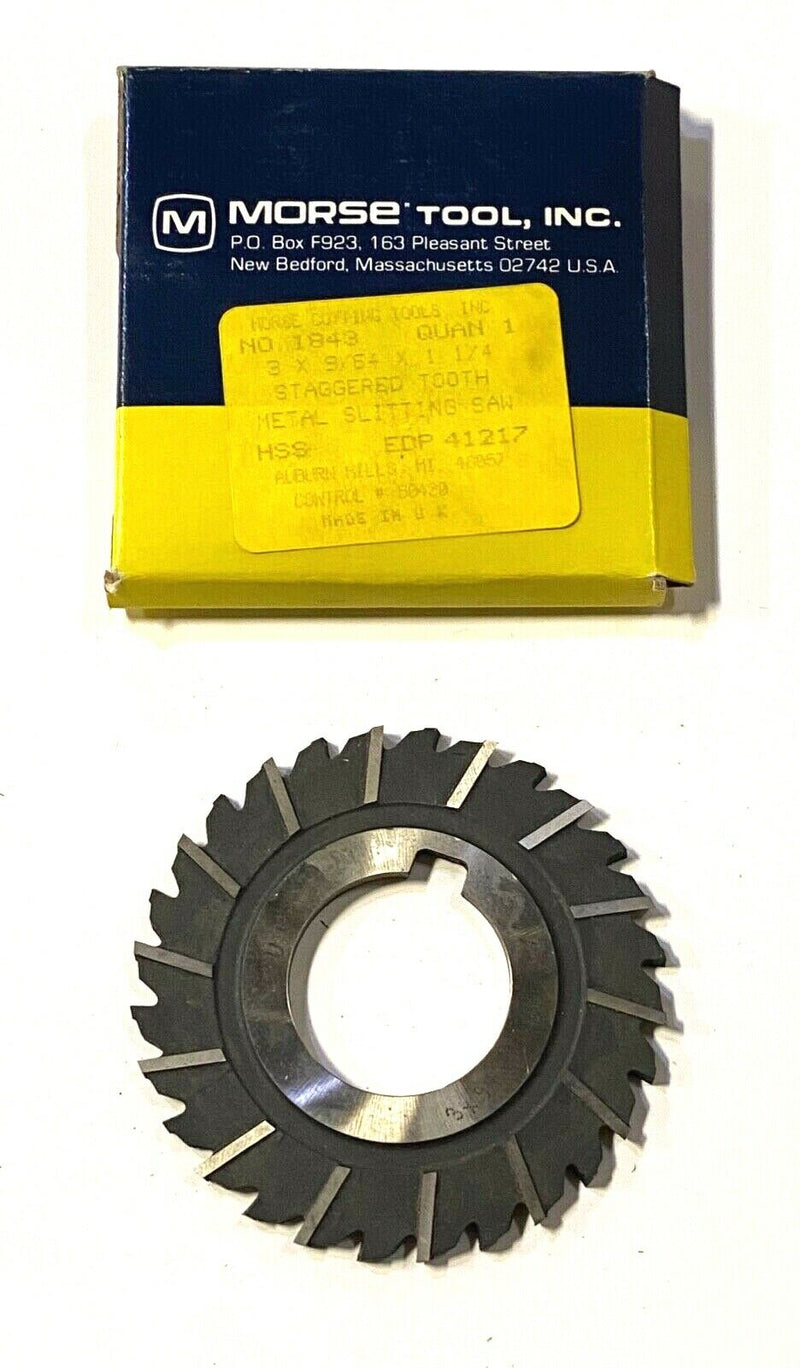 "Morse 3"" x 9/64"" x 1-1/4"" Metal Slitting Saw HSS Staggered Tooth 41217"
