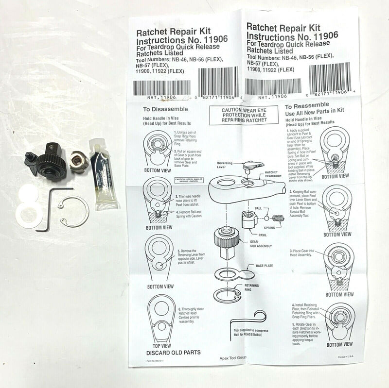 Ratchet Repair Kit 11906 Teardrop Quick Release Ratchet NB-46 NB-56 NB-57