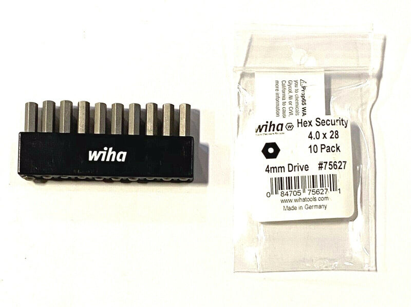 Wiha 4MM Drive Hex Security Micro Bits Precision Machined 10 Pack 75627