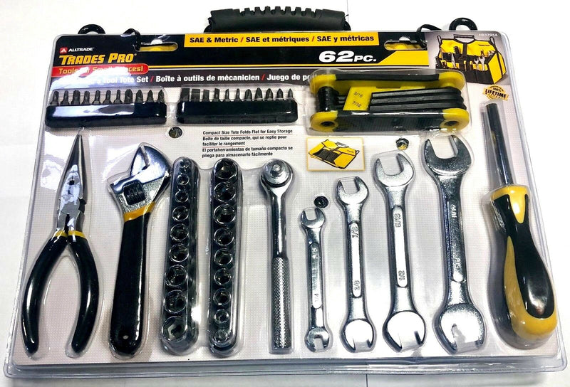 Trades Pro 62 Piece Mechanics Tool Tote Set SAE Metric 837914