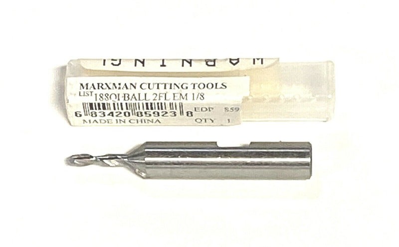 "Marxman 1/8"" x 3/8"" Ball End Mill HSS 2 Flute Center Cutting Single End 85923"