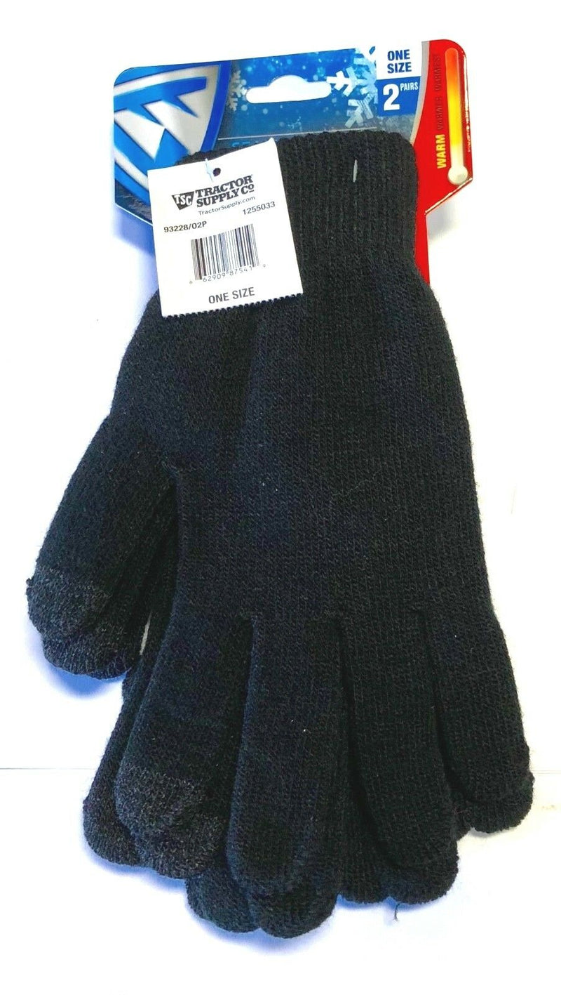 West Chester Winter Gloves Seamless Knit Glove 2 Pairs One Size Fits All
