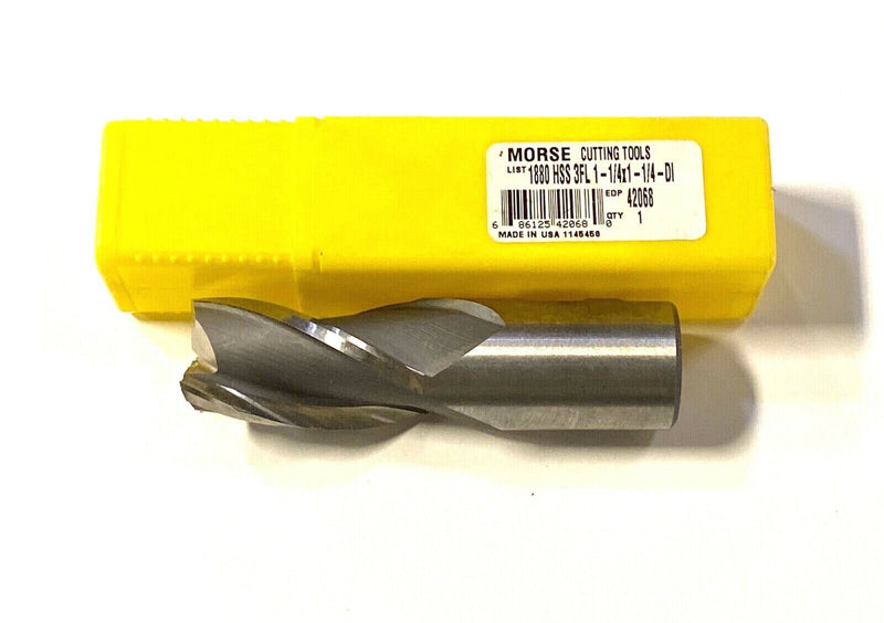 "Morse 1-1/4"" x 1-1/4"" End Mill High Speed Steel 3 Flute USA Made 42068"