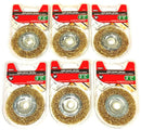 "Mibro 3"" Crimped Wire Wheel Brass Brush 6 Pack"