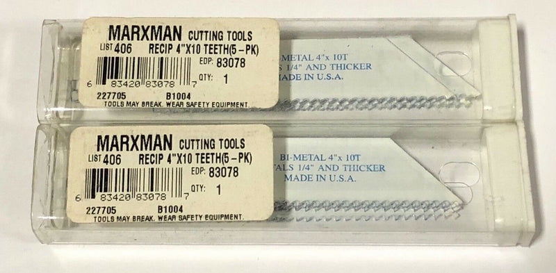 "Marxman 4"" Reciprocating Saw Blades Bi-Metal Sawzall 10TPI 10 Pack USA Made"