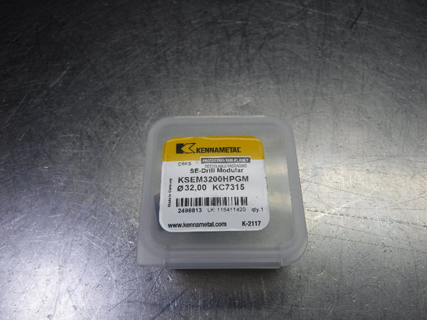 Kennametal  32mm Replaceable Tip Drill Insert  KSEM3200HPGM KC7315 (LOC1391A)