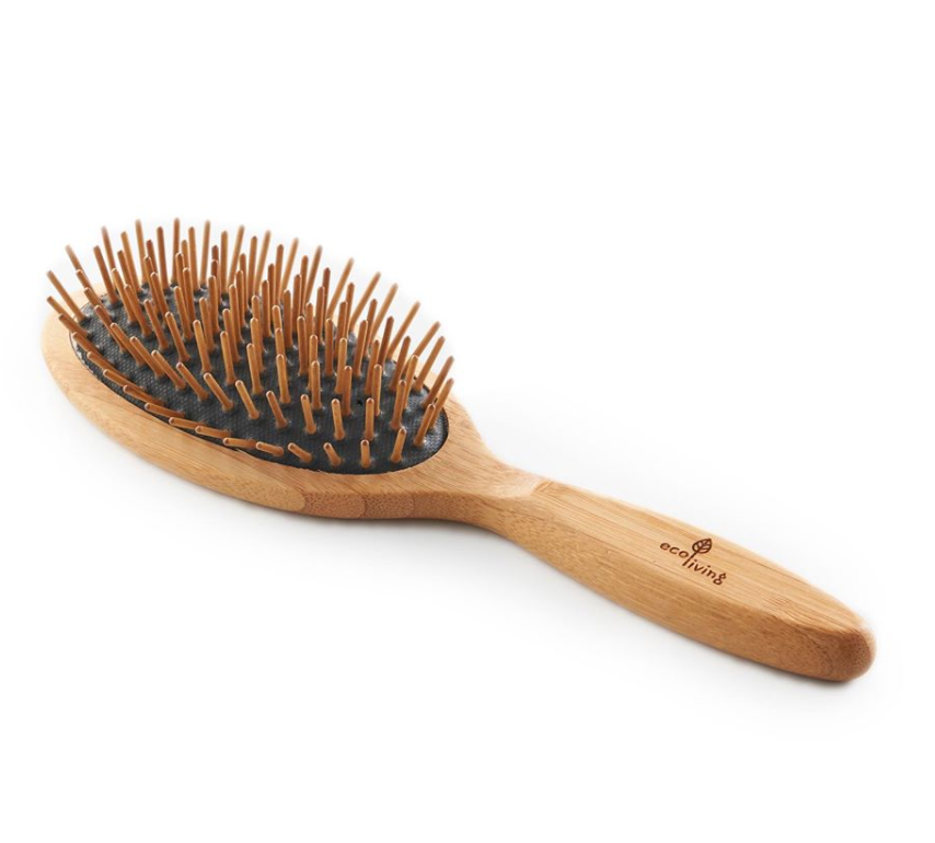 Bamboo Hairbrush - With Wooden Pins (Oval-Black) (FSC 100%)