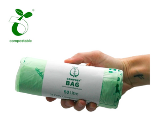 Compostable Biodegradable Bin Liners 50 Litres (25 bags per roll)