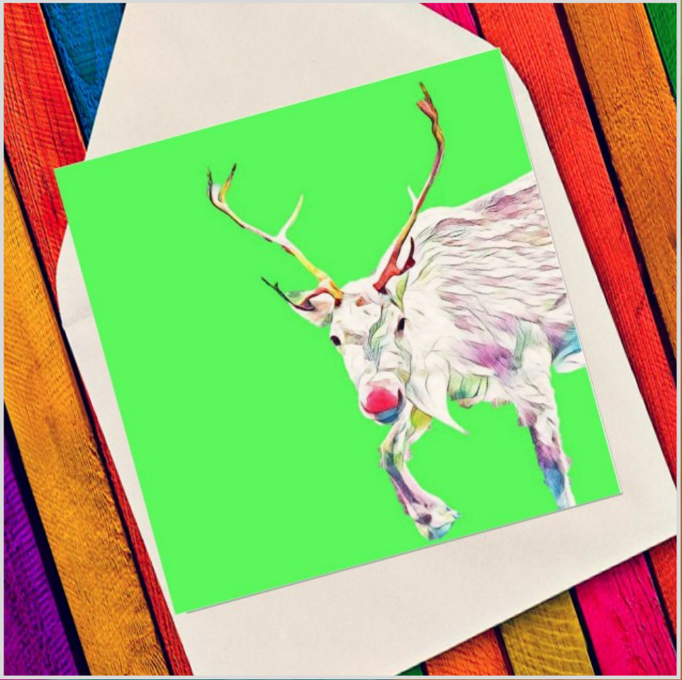 Character red nose reindeer - Eco Friendly Card