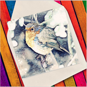 Xmas robin in tree - Eco Friendly Card