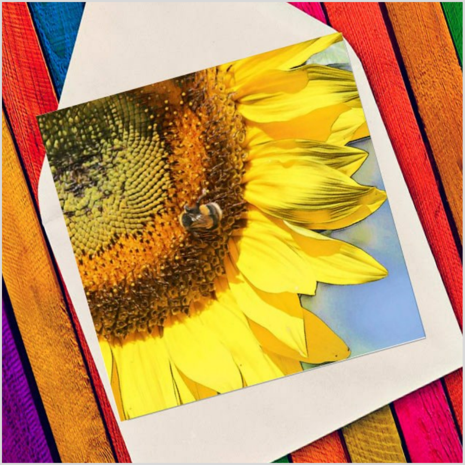 Bee on sunflower - Eco Friendly Card