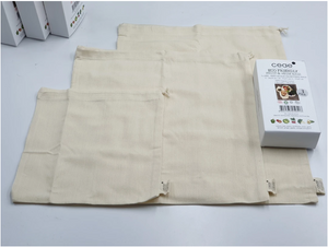 100% ORGANIC COTTON-MUSLIN DRAWSTRING BAGS (3PCS PACK)