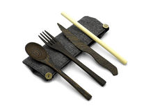 Load image into Gallery viewer, Reusable Eco-friendly Cutlery Set | Dark Wood Travel Utensils