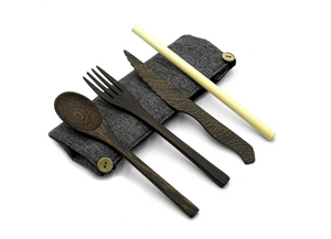 Reusable Eco-friendly Cutlery Set | Dark Wood Travel Utensils