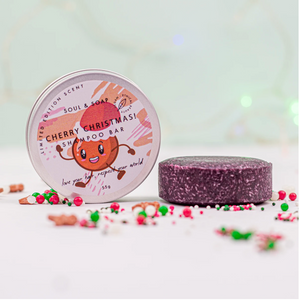 Cherry Christmas Solid Shampoo Bar - Vegan