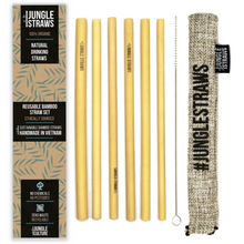Load image into Gallery viewer, Jungle Straws: Reusable Bamboo Drinking Straws with Coloured Pouch (Set of 6)