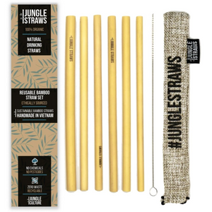 Jungle Straws: Reusable Bamboo Drinking Straws with Coloured Pouch (Set of 6)