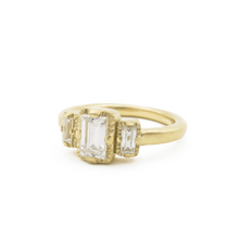 Load image into Gallery viewer, Art Deco style three stone ring, baguette three stone ring, recycled gold and moissanite engagement ring