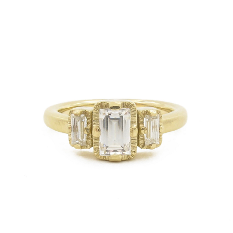 Art Deco style three stone ring, baguette three stone ring, recycled gold and moissanite engagement ring