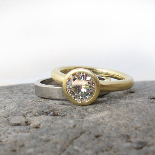 Super low profile bezel solitaire setting