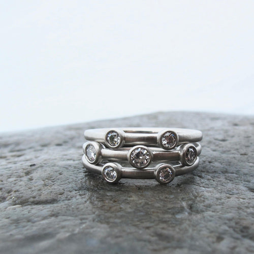 Reclaimed diamond stacking rings