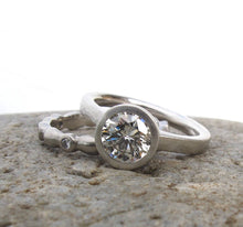 Load image into Gallery viewer, Bezel set diamond engagement ring, low profile engagement ring