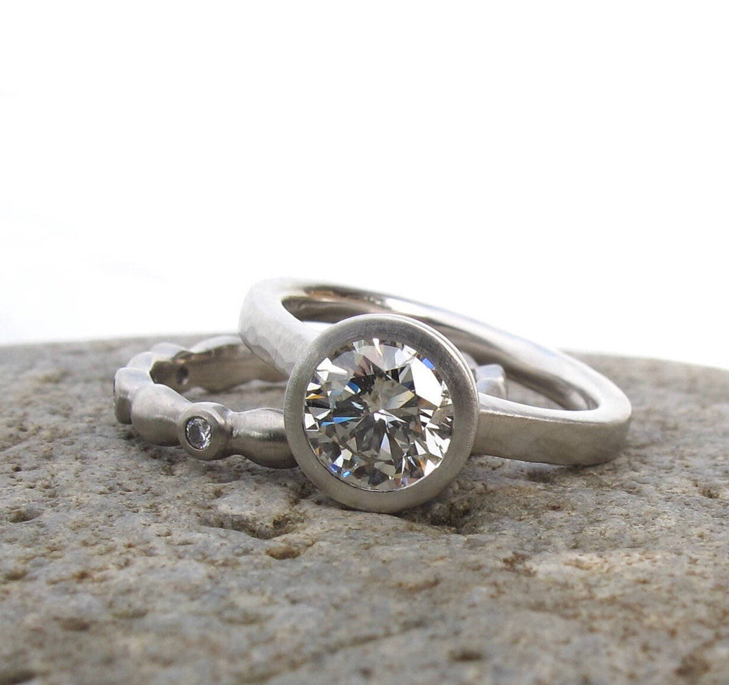 Bezel set diamond engagement ring, low profile engagement ring