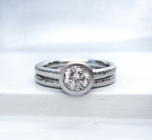 Platinum and Diamond bezel set engagement ring, Pacific Ring engagement and band set
