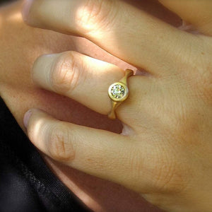 Sail Ring antique style engagement ring mounting, bezel set solid gold or platinum semi-mount