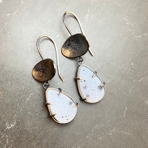 Sterling silver and druzy drop earrings