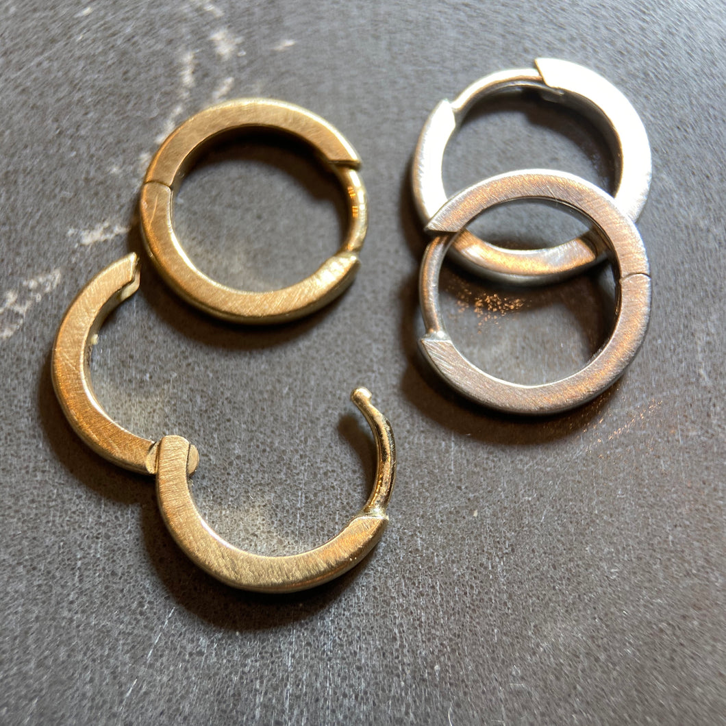 Solid huggies hinged hoop earrings